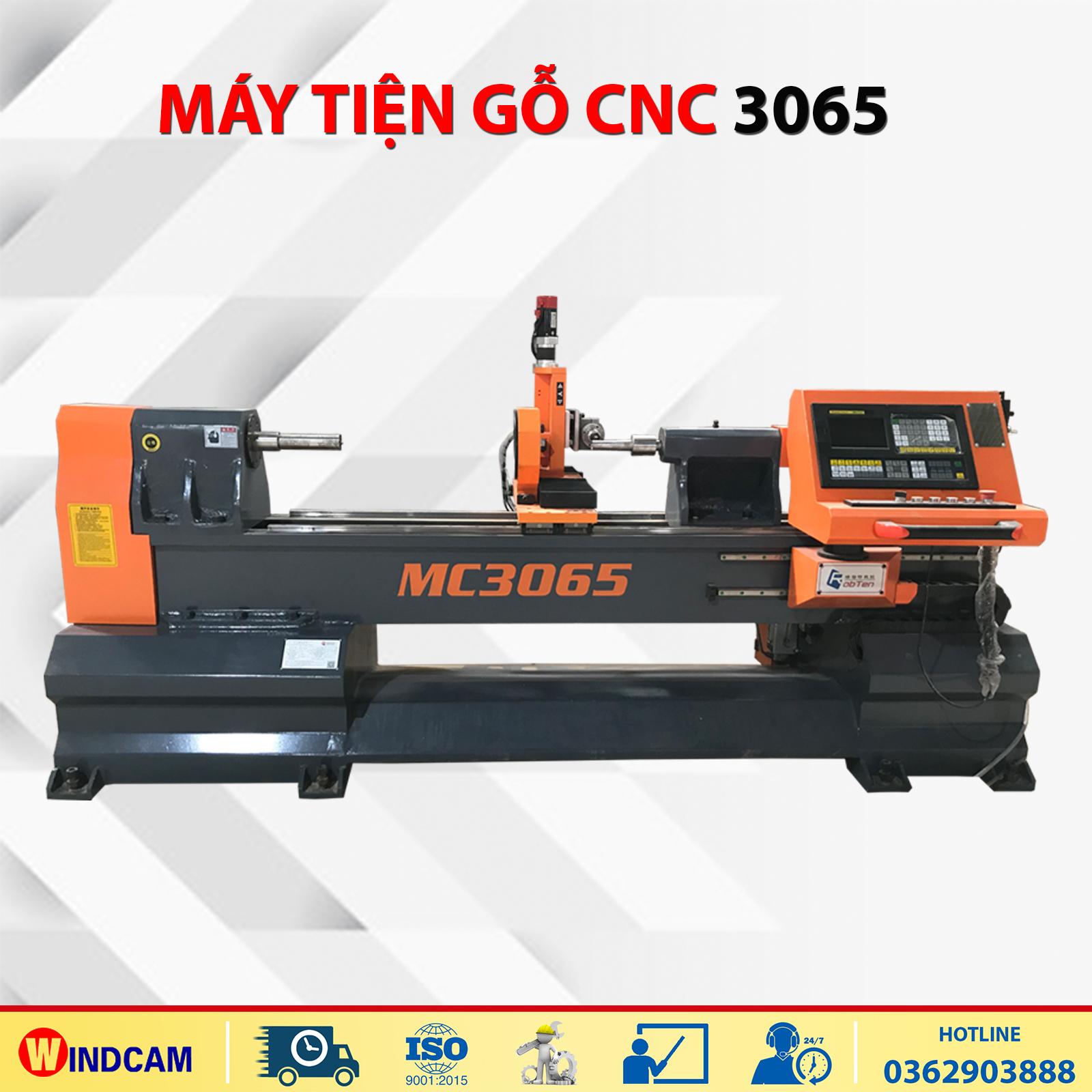 Máy tiện gỗ CNC kết hợp đục khắc MC3065